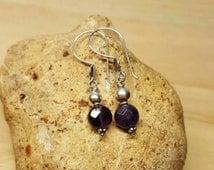 Bali Sterling Silver Amethyst earrings. Crystal Reiki for third eye chakra. Reiki jewelry uk. December birthstone