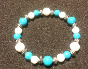 Blue, White glass beads with silver
