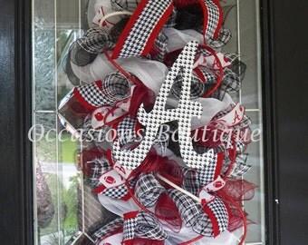 Alabama Football Door Hanger, Alabama Crimson Tide, Roll Tide, Alabama Football Wreath, Wreath for Door, Door Hanger, Front door Wreaths