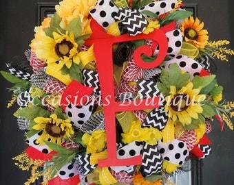Summer Wreath, Spring Wreath, Wreath with Monogram, Housewarming Gift, Whimsical Wreath, Sunflower Wreath, Door Hanger, Made to Order