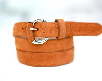 Free shipping! Woman belt, leather belt, orange belt, orange leather belt, suede belt, woman belt, dress belt, leather waist belt