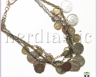 Layered Coin Necklace, Multi-Chain Necklace, Statement Necklace, Bib Necklace, Roman Pendant, Metal Jewelry, Steampunk, Pirate Costum