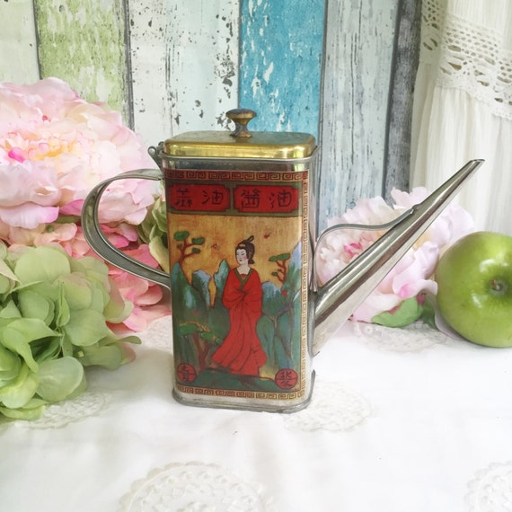 Vintage Asian Olive Oil Tin Can W/ Spout. Red Tin Geisha