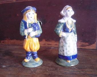 Antique Quimper Salt and Pepper Shakers Pair Rare!