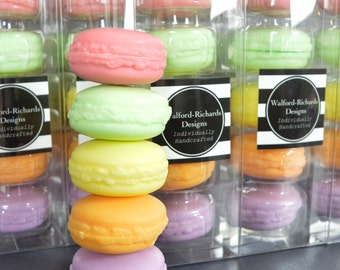 Handmade macaron soaps in 5 different scents. - Cruelty free, vegetable based, SLS free, macaroon