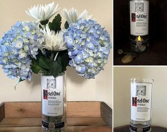 Ketel One Vodka Vase / Tea Light Holder - Made from Reclaimed Ketel One Vodka Bottles