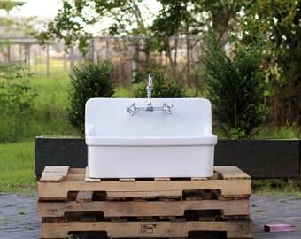 Vintage Style High Back Farm Sink Apron Kitchen Utility Sink Package Original Porcelain Finish Kohler Gilford