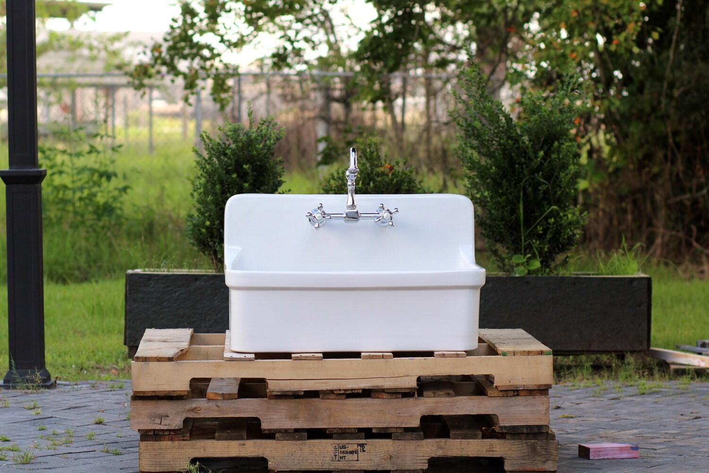 White apron galleria 7 - Vintage Style High Back Farm Sink Apron Kitchen Utility Sink Package Original Porcelain Finish Kohler Gilford
