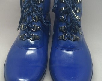 Vintage Lands End Blue Rubber Boots Size 7 Ankle Booties Fun Hipster
