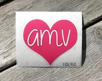 Heart Monogram Vinyl Decal | Personalized Monogram | Car Decal | Vinyl Initials