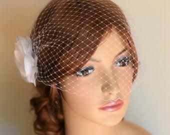 Birdcage Veil, White Flower, Wedding Hair accessory, Bridal veil, Bridal headpiece, Russian netting, blusher veil, wedding veil