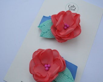 CORAL - AZURE Mini Flower Bloom (set of  2)