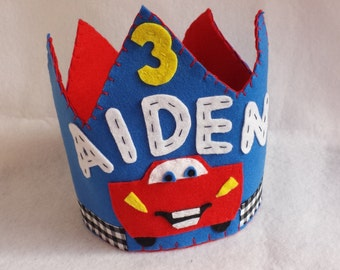 Cars birthday crown / lightening mcqueen birthday decor / birthday hat / party hat /