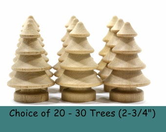 "Wooden 3-Dimensional Trees (2-3/4"")-Choice of 20 -30 Trees-Solid Hardwood Natural Unfinished High Quality Turnings-Ready for Paint or Stain"