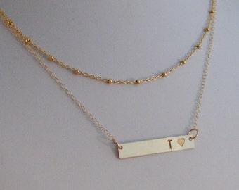 Signature Gold Bar,Set,Layered Set,Heart,Heart Necklace, Chain,Layered,Engraved Bar,Personalized Bar,Bar Necklace,Layered Gold Necklace