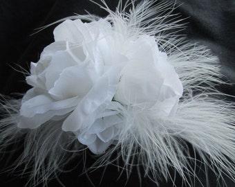 White wedding fascinator, white feather & rose hair croc clip, bridal headpiece, white flower, white wedding brides headdress bridal flowers