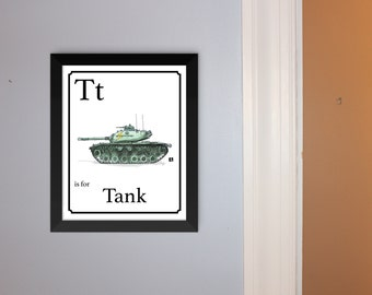 "Alphabet Cards - ""T"" is for Tank - Unframed Hand Drawn Pen & Ink Sketch With Watercolor Print Of Vintage M48 Patton Tank"