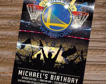 Custom NBA Golden State Warriors Birthday Invitation Card Invites