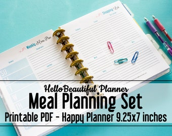 PRINTABLE Menu Planners – Happy Planner Size 9.25x7 inches - Hello Beautiful Planner