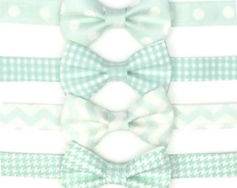Mint Bow Tie, choose from 4 patterns, Mens, Adult, toddler. Ring Bearer Gift, Gingham, Polka Dots, Chevron, Houndstooth, Pale Mint, Kids