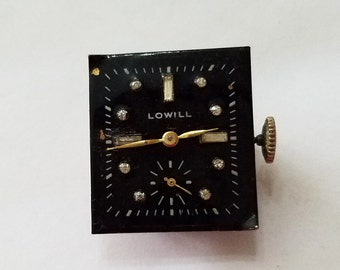 Vintage Lowill Watch Movement and Dial, Art Deco, Wristwatch, Steampunk, Beading, Supply, Supplies, not working