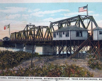 Vtg Postcard Rio Grande International Bridge Brownsville TX Matamoros Mex 1929