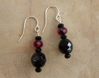 Vintage Estate Black Crystal and Glass beaded dangle drop Earrings with dark red Czech glass on Sterling silver wire