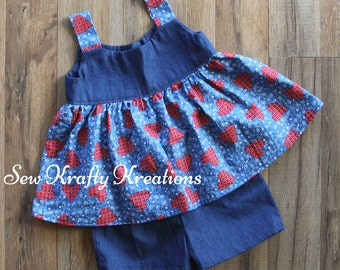 Little Girl's 2 Piece Set - Denim with Blue and Red Heart Bandana Print Top and Cotton Denim Shorts