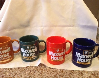 Set of 4 Vintage Maxwell House promotional mugs