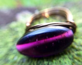 Purple ring-wire wrapped ring-bohemian jewelry-minimalist ring-statement ring