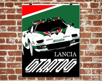 """Lancia Stratos Poster,  Lancia Stratos, Automotive Art, Lancia, Stratos Race Car, Lancia Garage Art, Instant download, 8x10"""", 11x14"""", 18x24"""""""