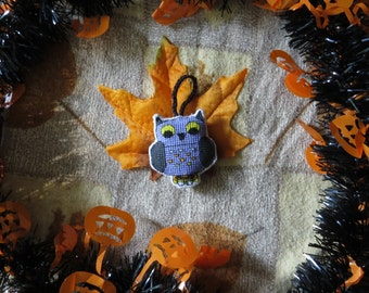 Halloween Whimsical Fantasy Owl Charm, with Candy Corn Tail Feathers