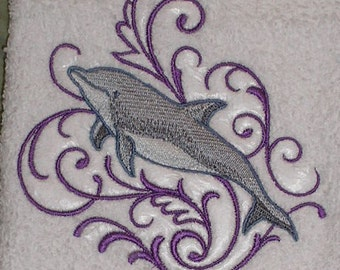 PAIR hand towels - dolphin - EMBROIDERED 15 x 25 inch for kitchen or bath