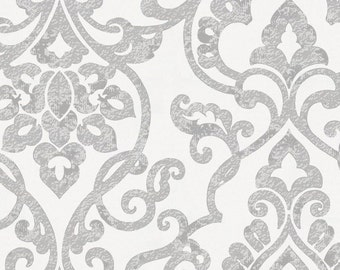 Gray Filigree Organic Fabric - By The Yard -  Girl / Boy / Neutral