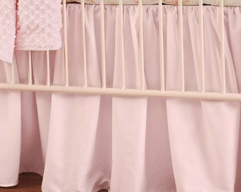 "Girl Baby Crib Bedding: Solid Pink Crib Gathered Skirt - 14"" or 20"" by Carousel Designs"
