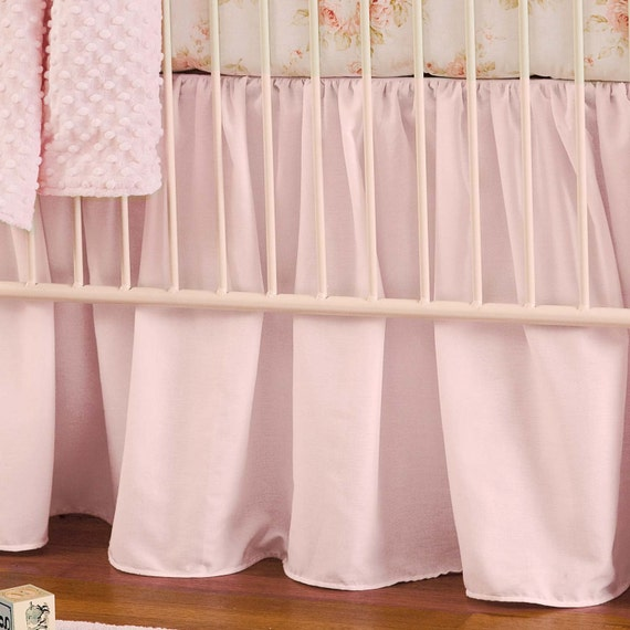 Girl Baby Crib Bedding Solid Pink Crib Gathered Skirt