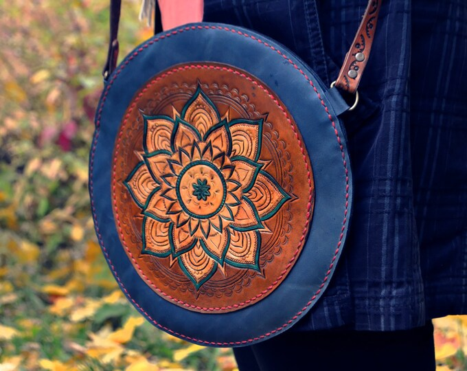 leather boho bag with mandala, Handmade Leather Bag, Bohemian bag, Leather carving bag, Shoulder bag