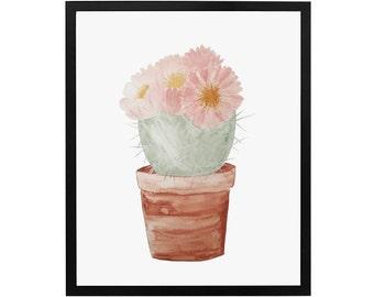 Watercolor Floral Cactus Art Print