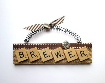 Brewer Beer Brewing Scrabble Tile Ornament