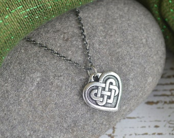 Irish Celtic Heart Necklace with Oxidized Sterling Silver Chain