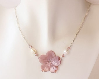 Plumeria Shell Necklace, Pearl Plumeria Necklace, Hawaiian Plumeria Necklace, Silver Plumeria Necklace, Beach Wedding Necklace