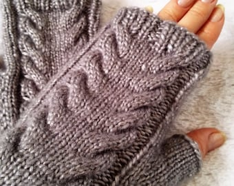 Gray/Silver Cable Fingerless Gloves Mittens