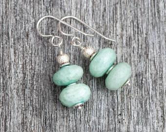 Ocean Green Amazonite Earrings, Pale Green Natural Stone Earrings, Sterling Silver, Sea Foam Green Earrings, Green Amazonite Dangly Earrings