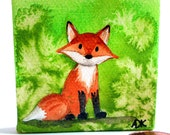 Fox Kit on Green - Tiny Watercolor Painting on Canvas