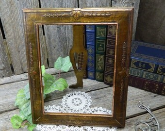 Antique Hand Crafted Gold Overlay Wood Frame With Wood Easel Foot