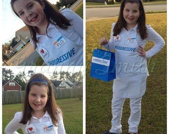 CHILD Kid Flo Progressive Insurance Apron, Name Badge, Pin + Headband. You attach where you want! Also ask for kids sizes!  A fun FLO apron!