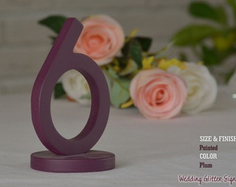 15 table numbers, plum table number, plum centerpiece, Navy Blue table numbers, champagne table numbers