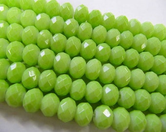 Pastel Rondelle Beads, 6x8 MM, 26 Beads, Lime Green, Glass, Pastel, Value Stands, Jewelry Making Beads
