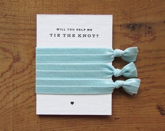 Light Blue – Bridesmaid Proposal Gift – Help Me Tie The Knot – Will You Be My Bridesmaid Gift –Hair Tie – Bridesmaid Favor – Wedding Favor