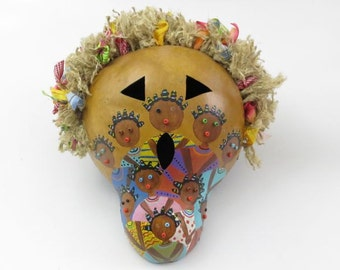 Hand Crafted Gourd Mask.